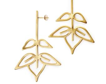 Leaf earrings, Organic leaf earrings, Tropical Statement earrings, Gold leaf earrings, Long dangle earrings, Botanical earring, Plant stud