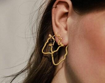 Anatomical Heart Ear Jacket Earrings, Heart Ear Jackets, Double Sided Earrings, Heart Front Back Earrings