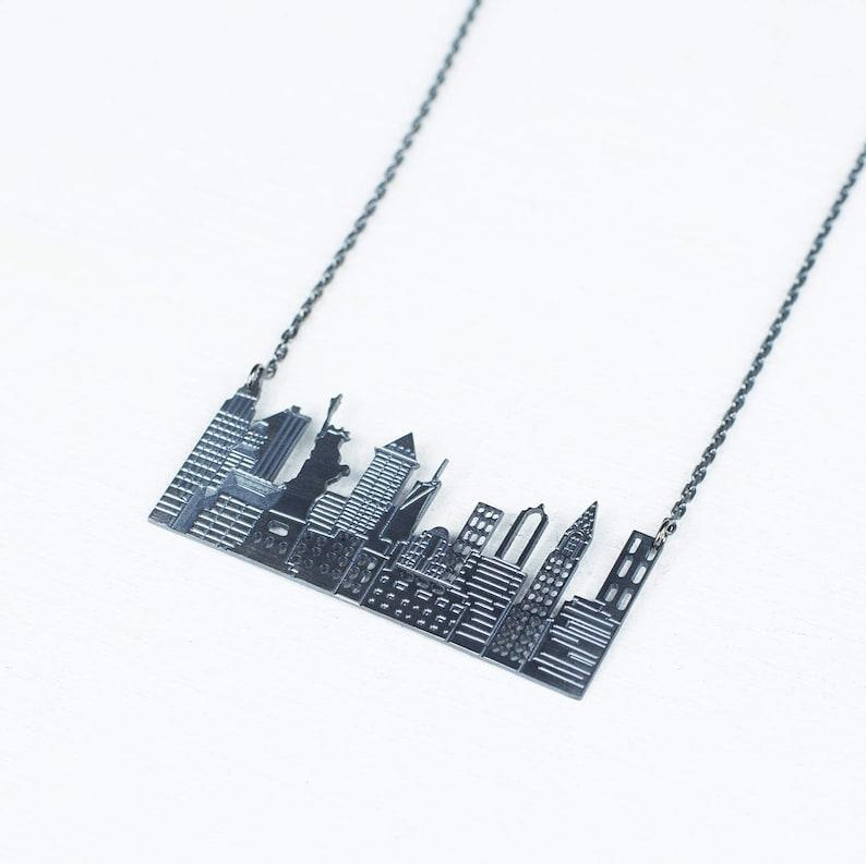 New York City Necklace  Skyline Necklace  NY City Pendant  image 0