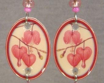 Bleeding Heart Dangle Earrings - Flower Jewelry - Spring Accessories Jewellery