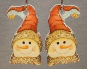 Country Snowman Earrings - Vintage Tall Hat Snowman Jewelry - Christmas Accessories - I love snowmen