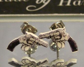 Revolver Stud Earrings - Gun Jewelry - Cowgirl Patriot Jewellery
