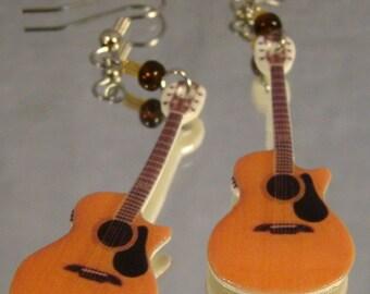 Acoustic Guitar Dangle Earrings - Rocker Girl - Music Jewelry
