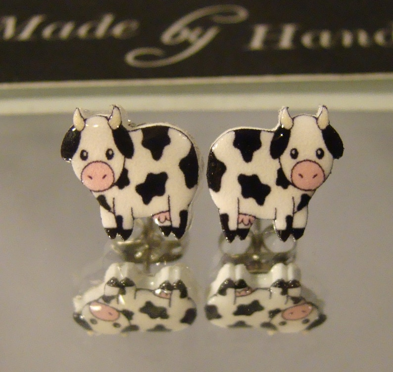 Cow stud Earrings Farm animal jewelry I love cows accessories