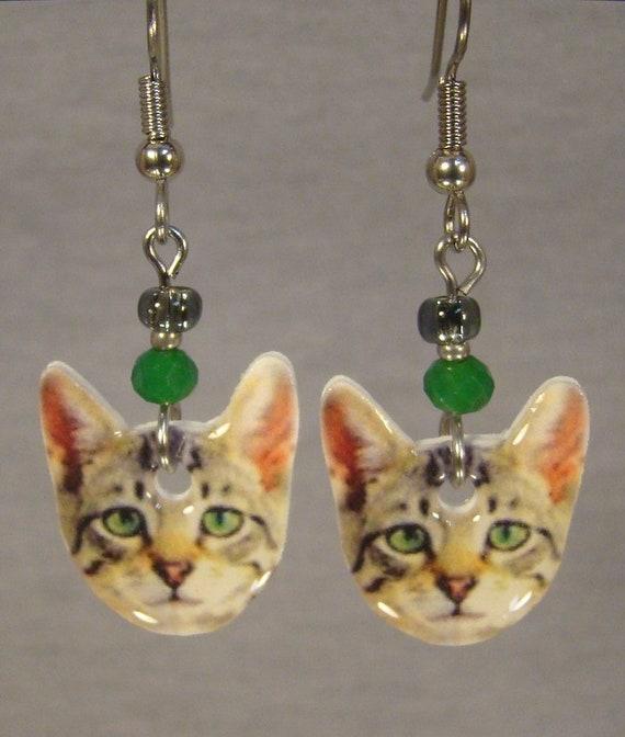 Cat Face Dangle Earrings American Short Hair Kitty Jewelry Etsy