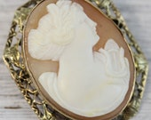 Antique 14K Yellow Gold Carved Shell Cameo Brooch Lady Harp Filigree Pendant Luxury