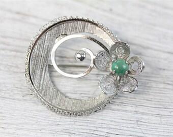 Vintage Sorrento Sterling Silver /& emerald fire opal Brooch pin Signed sterling