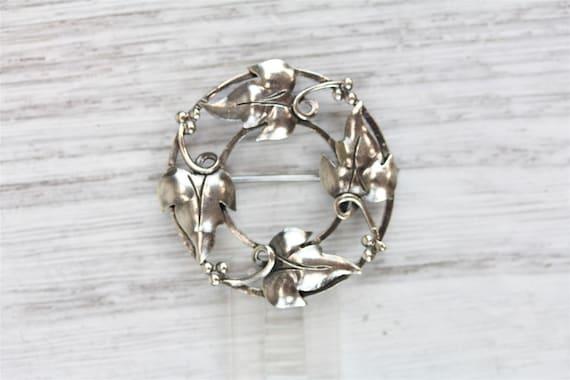 Vintage Sterling Silver Jewelry Set Brooch Pin Screw Back Earrings Beau Hallmark Retro Modern Mid Century Rose