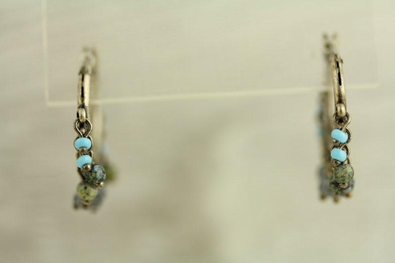 ET268 Vintage Dangle Hoop Crystal Stone Beads Sterling Silver Earrings