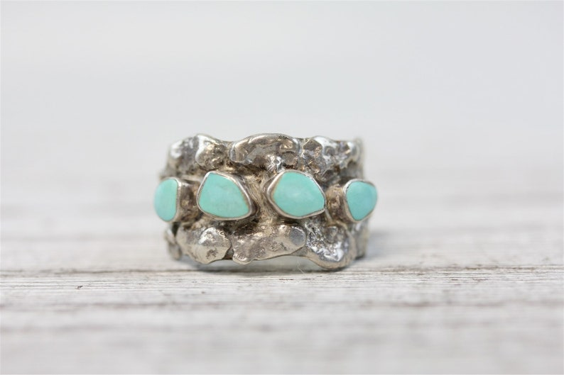 Vintage Indian Turquoise Sterling Silver Nugget 925 Ring Native Handmade 9