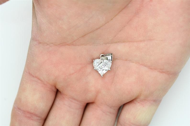 Vintage 925 Sterling Silver CZ Heart Small Pendant Pretty Staple Retro Classic Beautiful