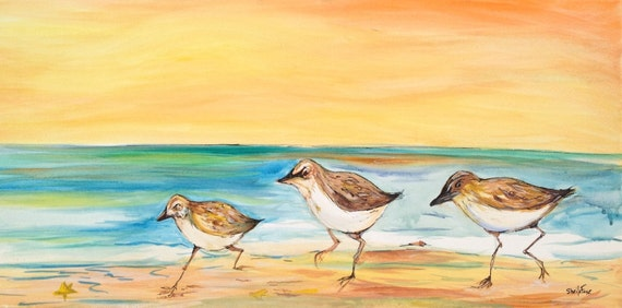 Little Pipers, 12x24 watercolor on watercolor canvas