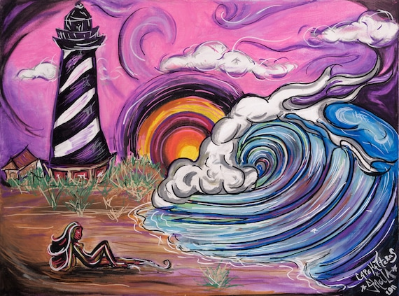 Cape Hatteras Lighthouse giclee print 8 x 10 in 11 x 14 black mat