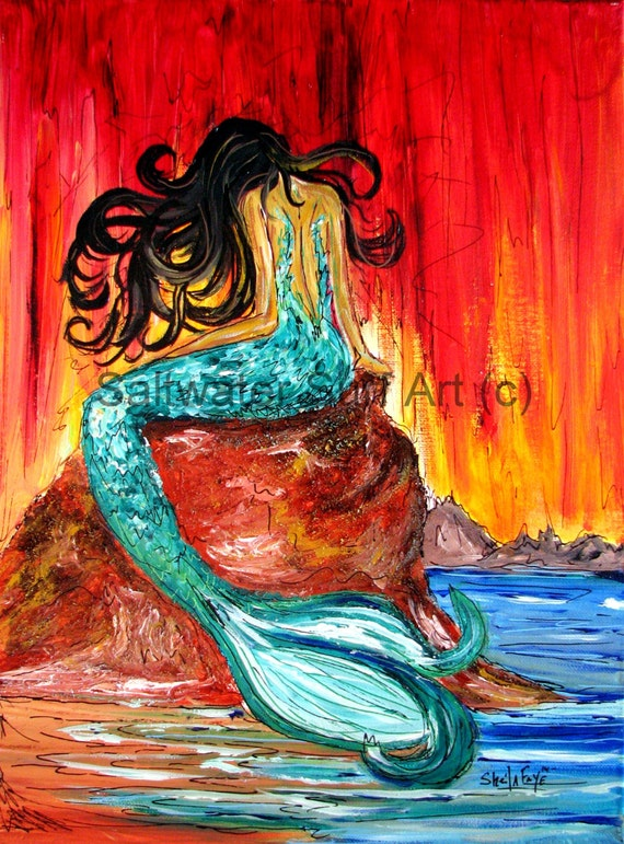 Weeping Mermaid, 12x16 Giclee Canvas Print