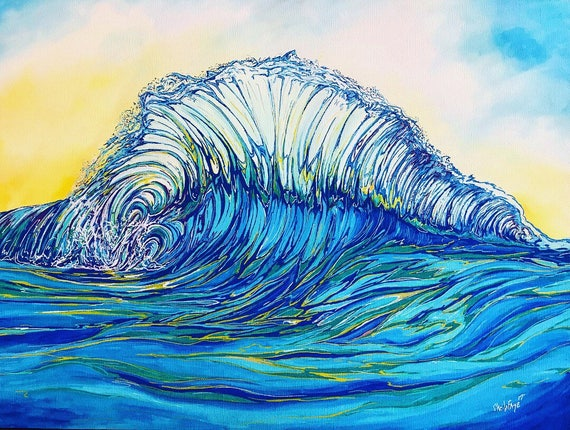 Backwash, 18x24 Original Uni posca painting by Sheila Faye. Surf Art.