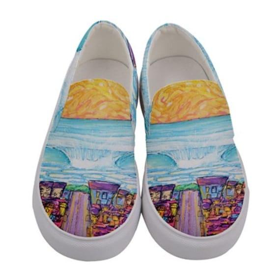 Surf Art Shoes, Ocean Beach, Canvas Slip on Custom Shoes