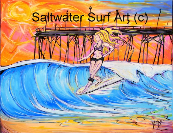 Surf Art Carolina Longboarder Wave Giclee Canvas Surf Art by Saltwater Surf Art