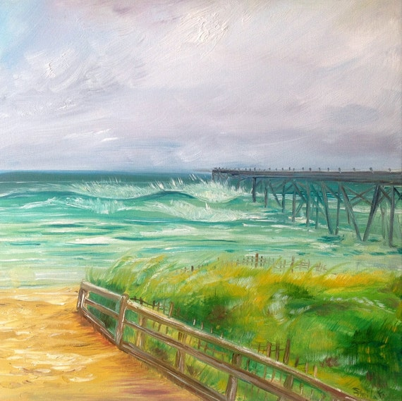 Swell at Kure Beach Pier. 18x18 Original Oil Painting by Sheila Faye