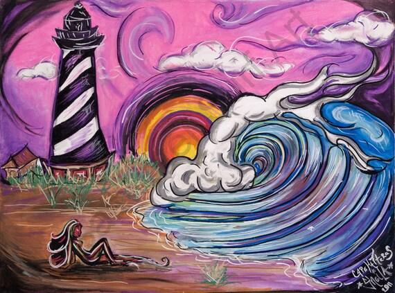 Cape Hatteras Surfer Girl Surf Art 16 x 20 print  Surf Art Print Outer Banks