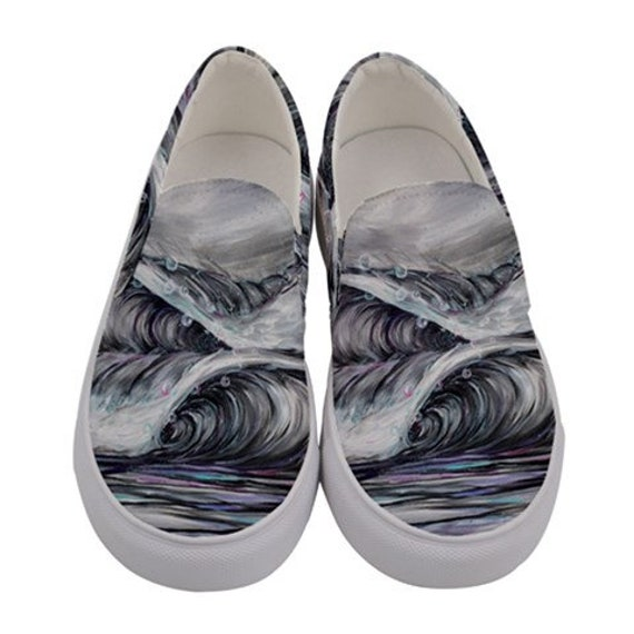 Surf Art Shoes, Frothy Waves, Canvas Slip on Custom Shoes