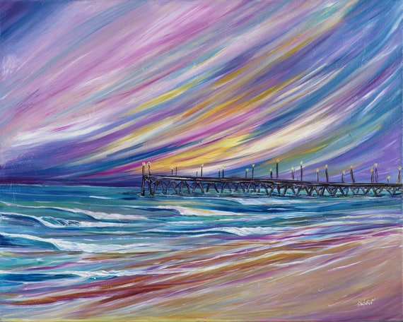 Surf Art 18x24 Giclee Canvas Print, Lights on the Pier