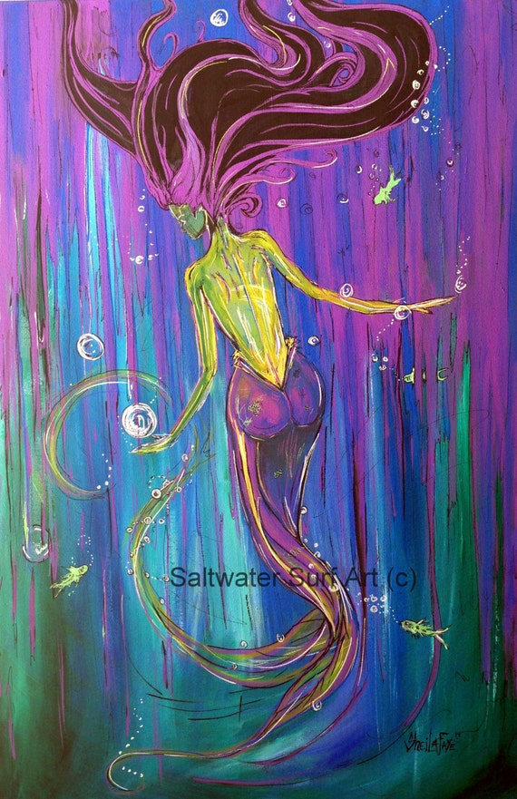 Abyss, 24x36 Giclee Canvas Print  Mermaid Painting