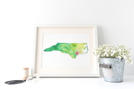 Watercolor North Carolina State Map Outline Fine Art Print