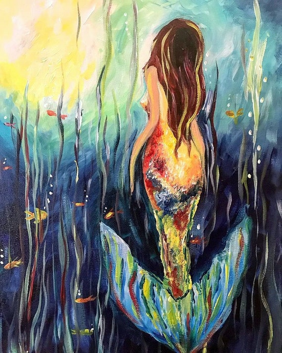 Underwater Drifter, Fine Mermaid Art by Sheila Faye