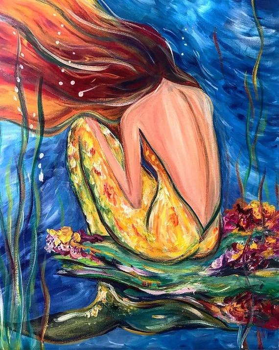 Coral Mermaid, Fine Mermaid Art by Sheila Faye