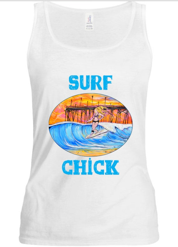 Surf Chick tank top,  Surfing t-shirt
