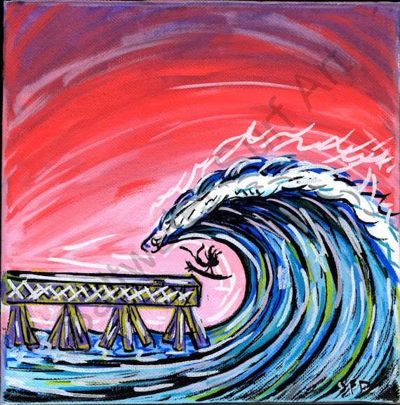 Surf Art 8x8 Giclee canvas print, Never Hold Back, Hurricane Season