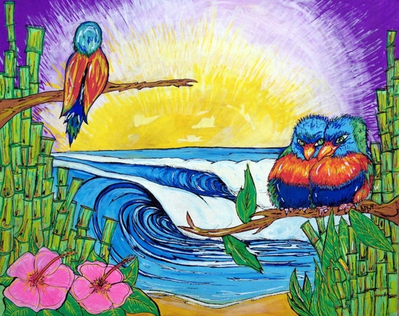 Surf Art, Pretty Birds, 11x17 Fine Art Print by Sheila Faye