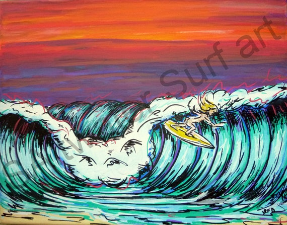The Drop, Surfer Girl Dropping in 11x14 Freehand on canvas print
