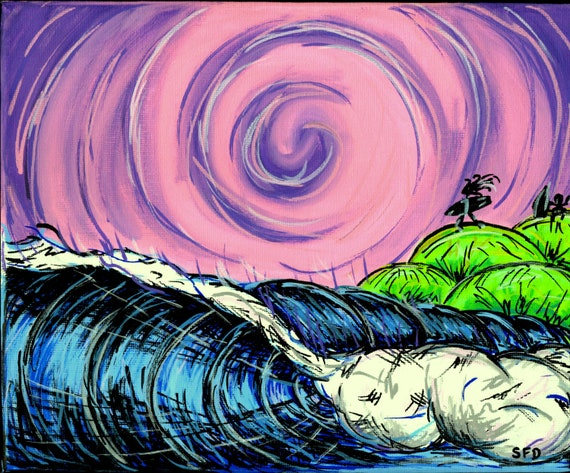 Psychedelic Sky, 8x10 Giclee canvas print surf art