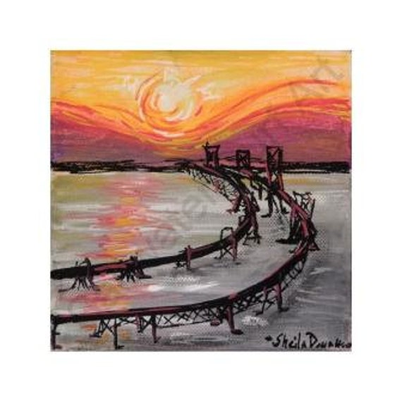 Chesapeake Bay Bridge 6x6 framed canvas print
