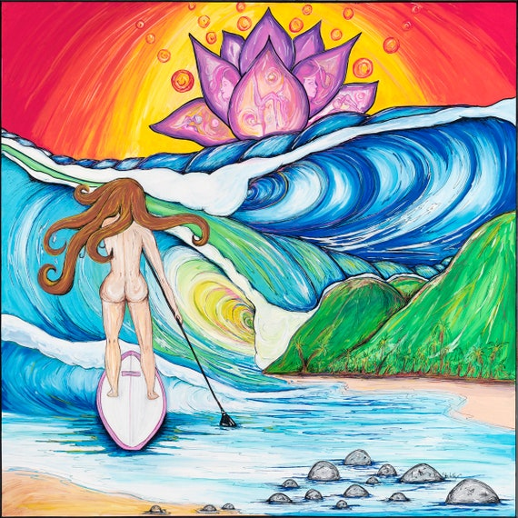 Lotus Paddler, Fine Surf Art by Sheila Faye