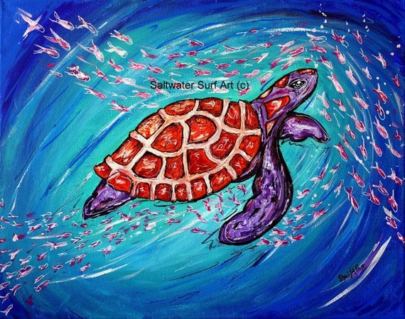 Surfing the Current, 11x17 Fine Art Turtle Print