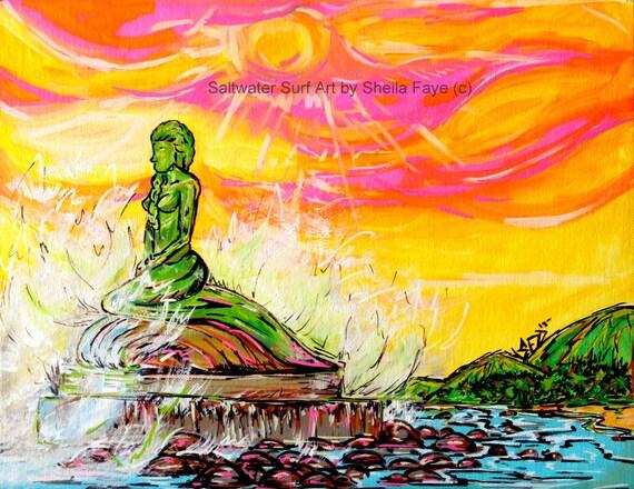La Sirena Esterillos Mermaid, 11x17 fine art print Mermaid