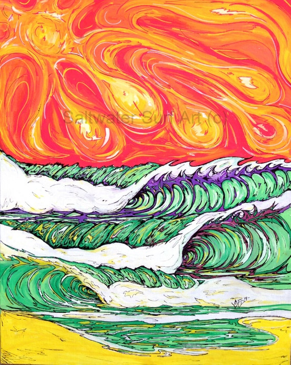 Surf Art, The Green Zone, 16x20 Original Surf Art painting on Canvas Board by Sheila Faye