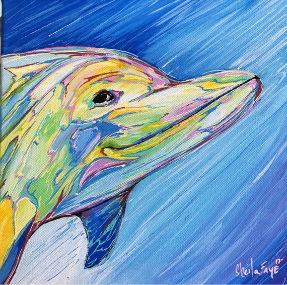 Happy Dolphin, 10x10 Original Painting