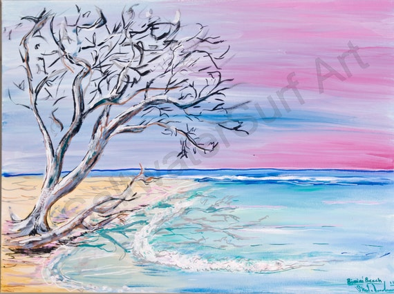 Bimini Beach Sunset 8x10 print matted Surf art Bahamas beach art
