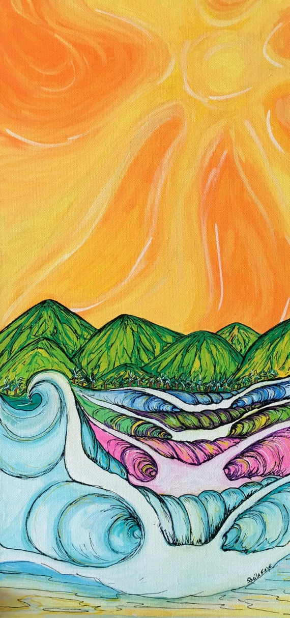 Island Wedge. 20x10 Original Surf Art Painting by Sheila aye