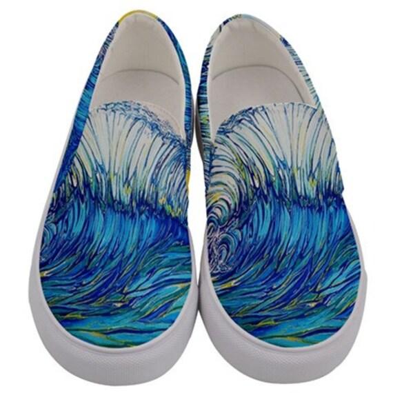 Surf Art Shoes,Backwash, Canvas Slip on Custom Shoes