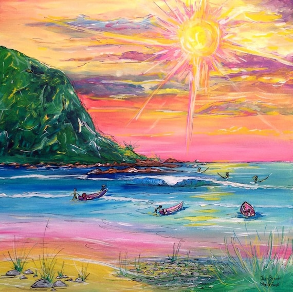 Jaco Beach, 20x20 Original Gallery Wrapped Acrylic Painting.