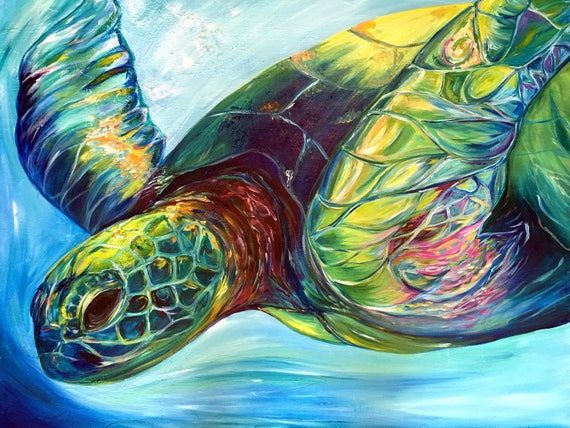 Emerald Turtle, 18x24 Gallery Wrapped Limited Edition Giclee Canvas Print