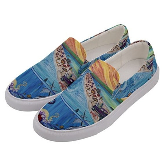 Surf Art Shoes, Beach Party, Canvas Slip on Custom Shoes