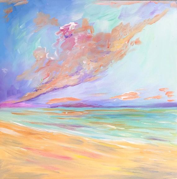 Warm Sunset, 12x12 Original Acrylic painting on wood panel
