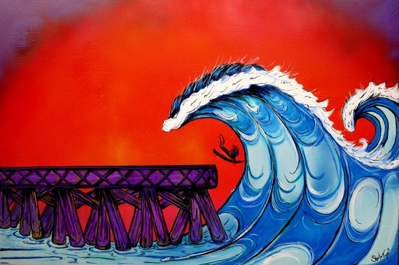 Surf Art 18x24, Shooting the Pier, Giclee Canvas Print
