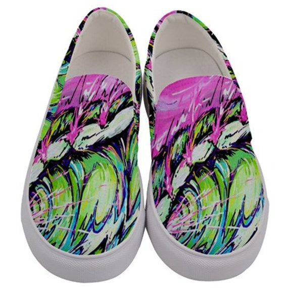 Surf Art Shoes, Fierce Wave, Canvas Slip on Custom Shoes