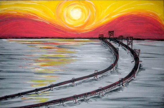 Chesapeake Bay Bridge Sunrise 24x36 Giclee Canvas Print